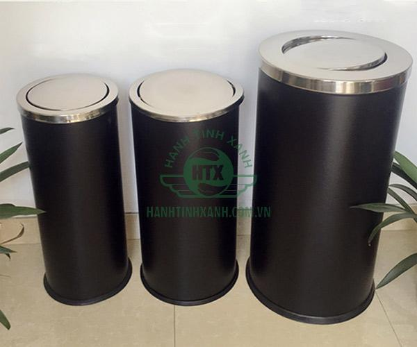 Một số mẫu thùng rác phun sơn đen nắp lật do Hành Tinh Xanh cung cấp