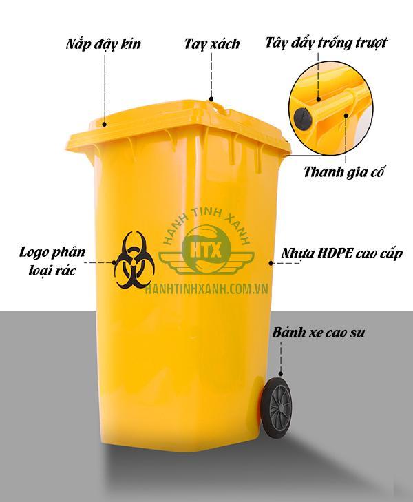 Thùng rác y tế 120 lít thương hiệu Paloca