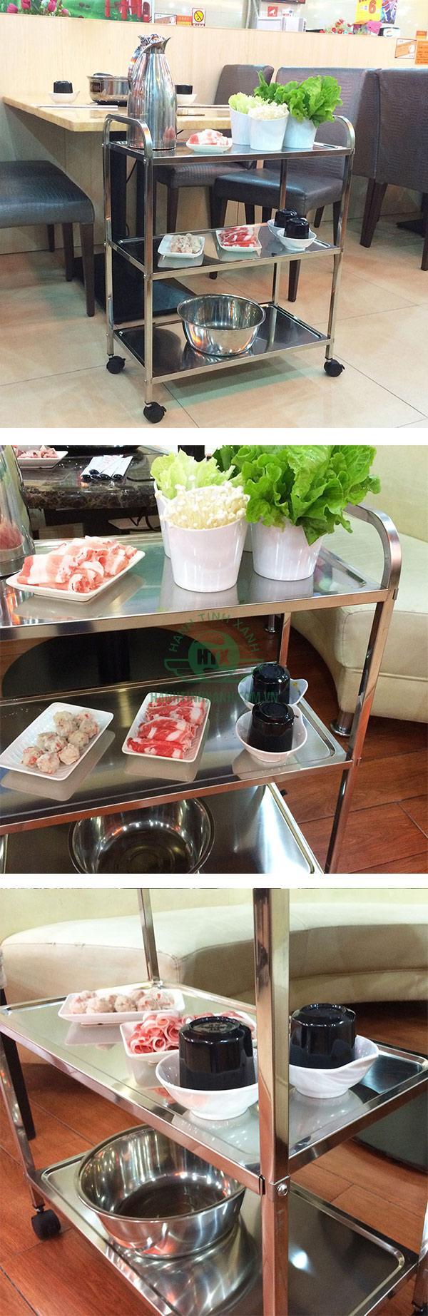 Sử dụng làm đẩy thức ăn 3 tầng inox tại nhà hàng