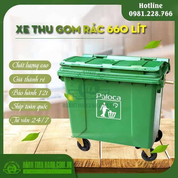 Xe đẩy rác 660 lít Paloca